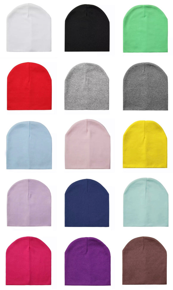 Cotton baby beanie • Assorted colours