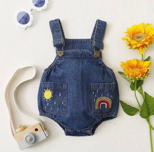 Rainbow denim overalls