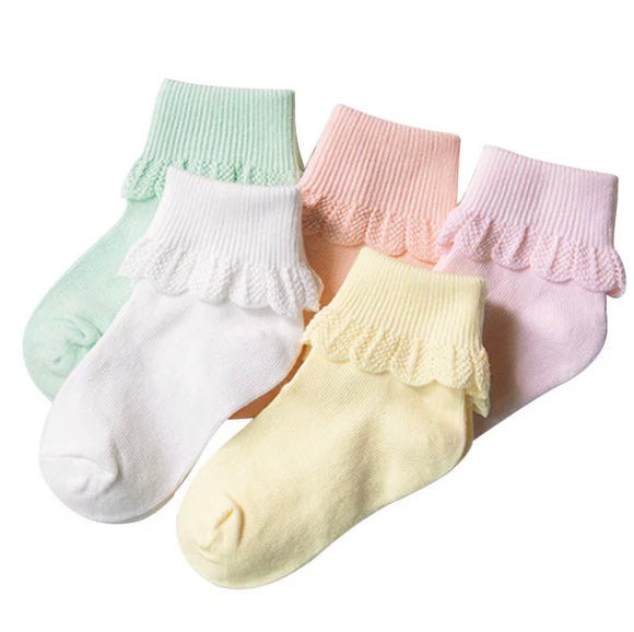 5 Pack frill socks • Assorted colours