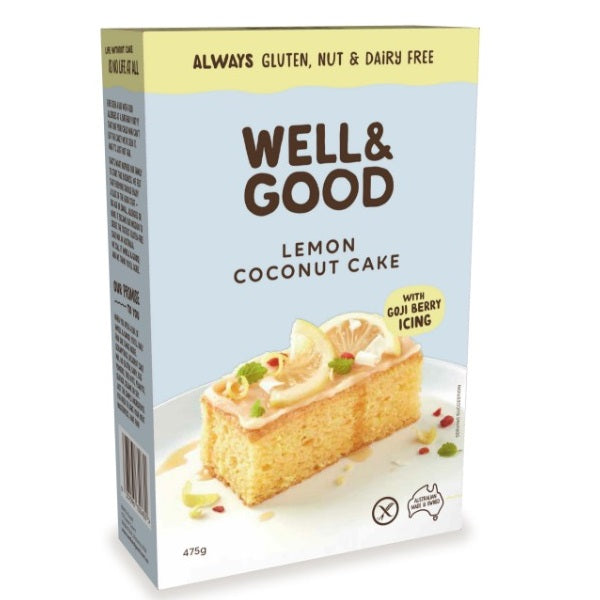Well & Good - Lemon Coconut Slice with Goji Icing 475g