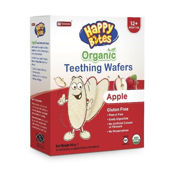 Happy Bites Organic Teething Wafers Apple 50g