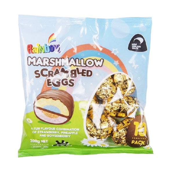 Rainbow - Foiled Marshmallow Easter Eggs - Scrambled 10 Pack 200g
