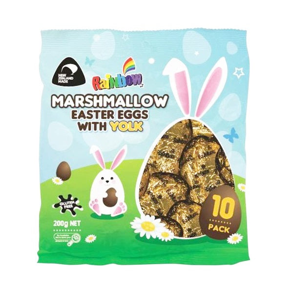 Rainbow - Foiled Marshmallow Easter Eggs - with Yolk 10 Pack 200g