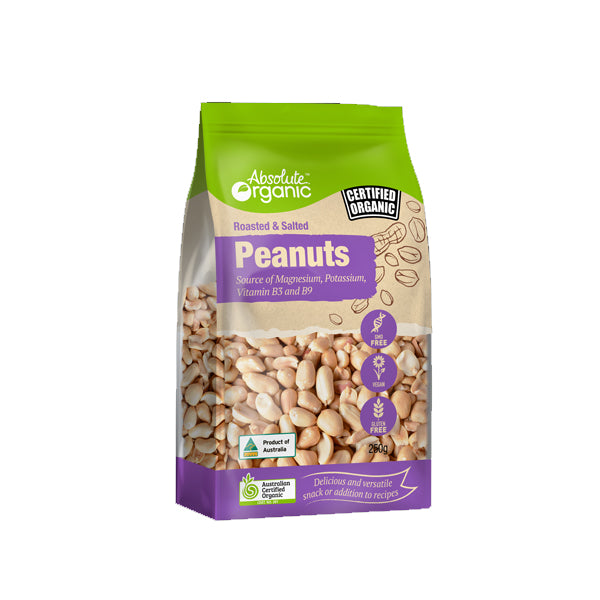 Absolute Organic - Nuts - Roasted & Salted Peanuts 250g