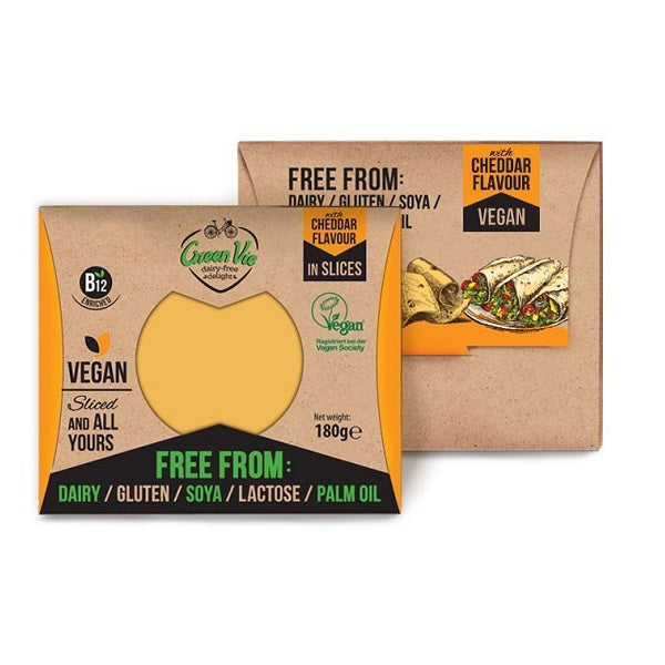 Green Vie Cheddar Slices 180g
