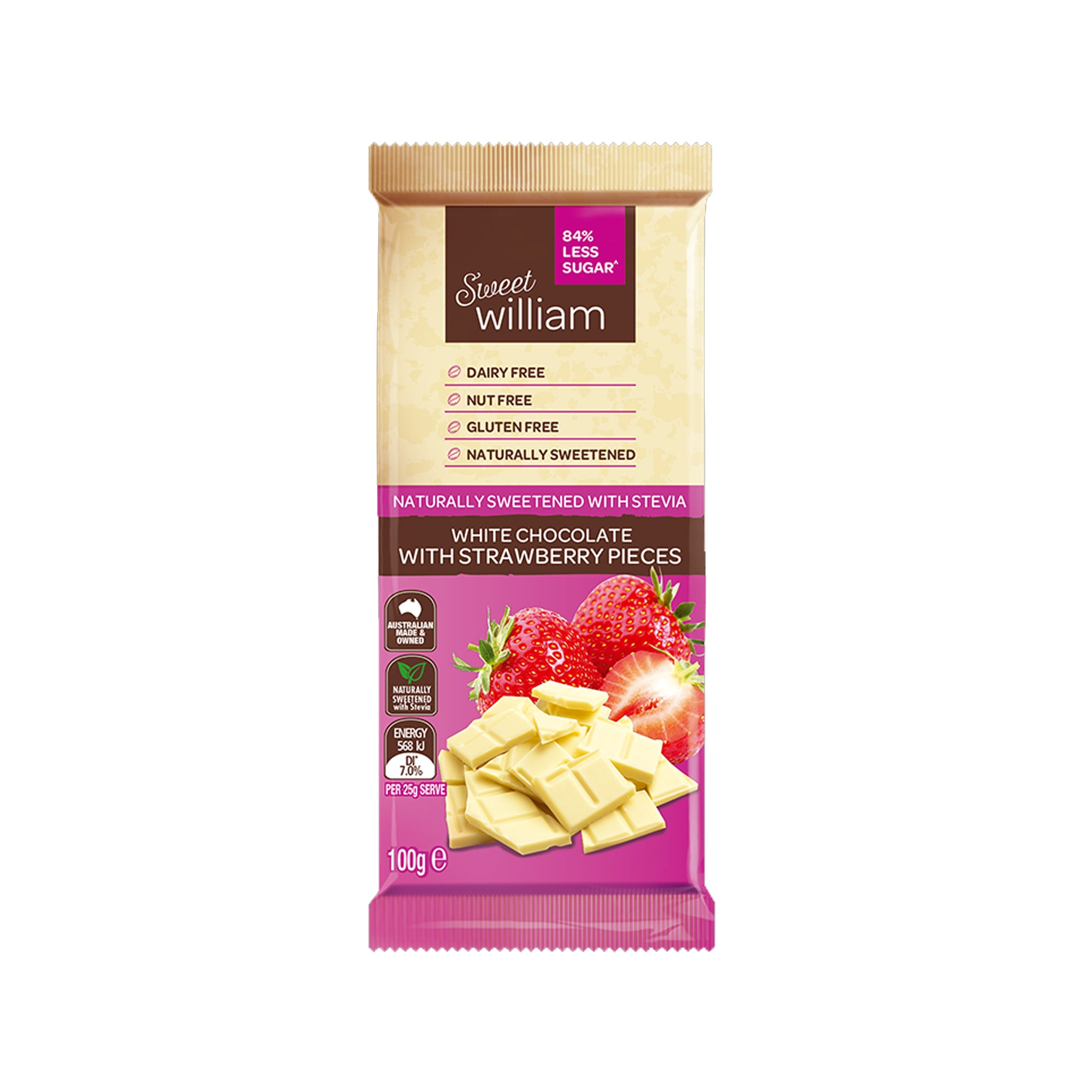 Sweet William - White Strawberry Chocolate 100g