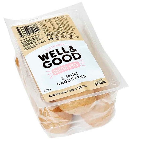 Well and Good Bread Roll Mini Baguette 3PK