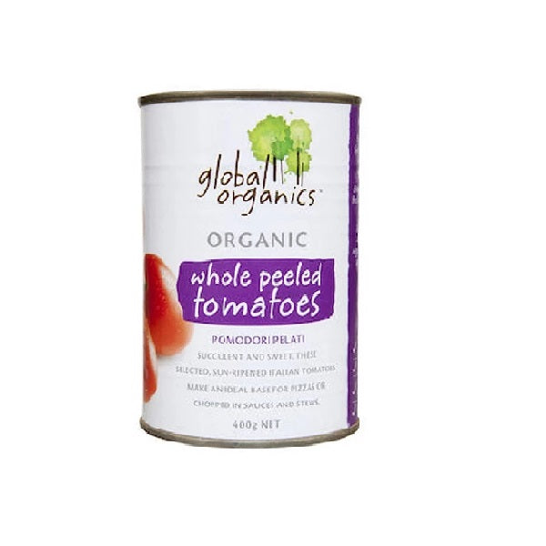Global Organics Whole Peeled Tomatoes 400g