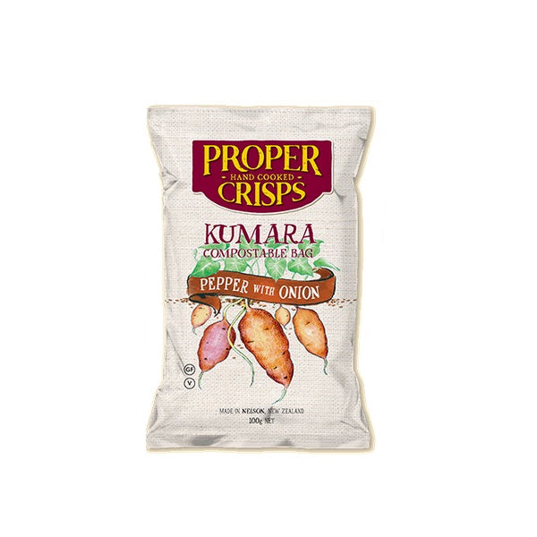 Proper Crisps - Compostable Bag - Kumara Pepper Onion 100g