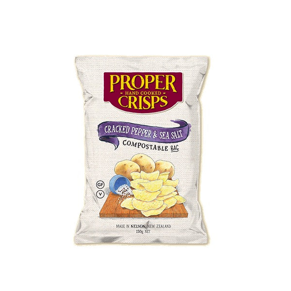 Proper Crisps - Compostable Bag - Cracked Pepper & Sea Salt 150g