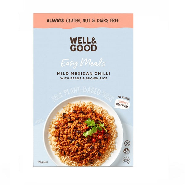Well and Good - Meal Kit - Mild Mexican Chilli with Bean & Rice 170g