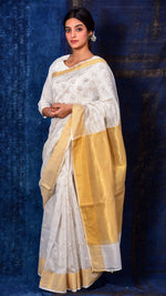 White and gold silk hand block printed lotus saree - Aavaran Udaipur
