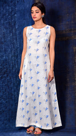 Blue Pigment Print A-line Long Dress