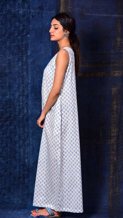 Blue Pigment Print A-line Long dress - Aavaran Udaipur