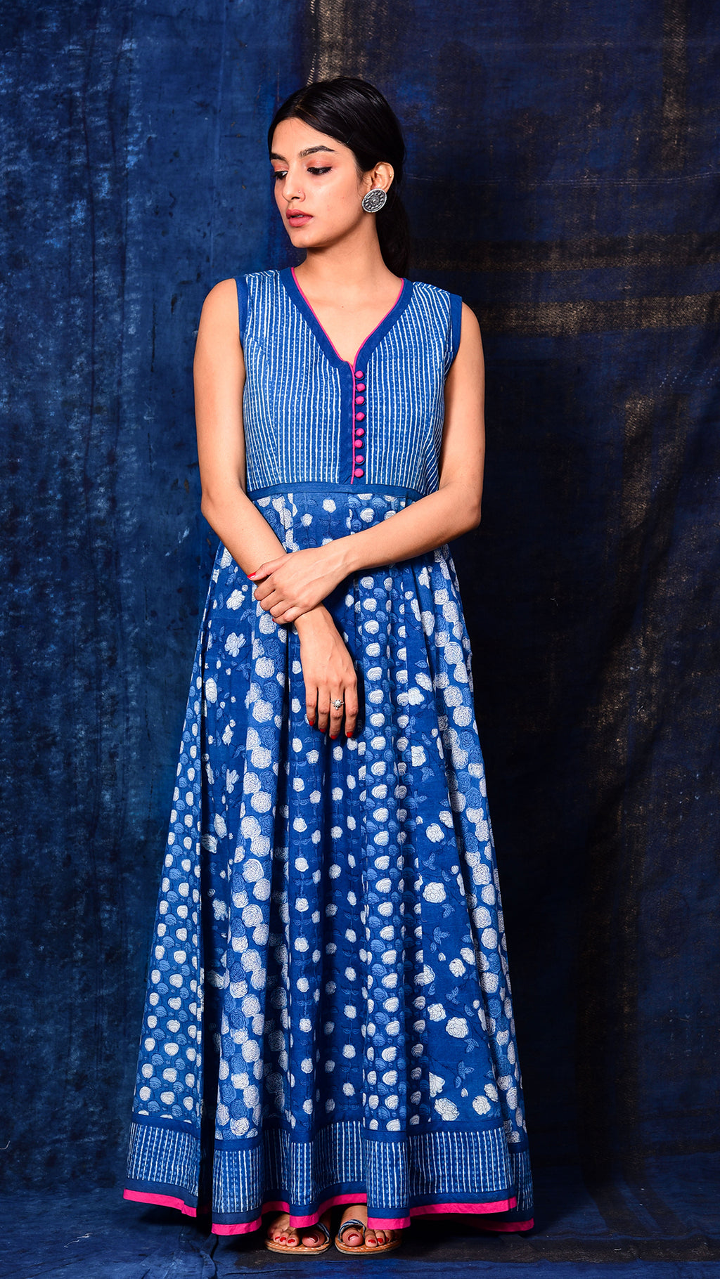 Indigo Dyed Dabu Print Flared Dress - Aavaran Udaipur