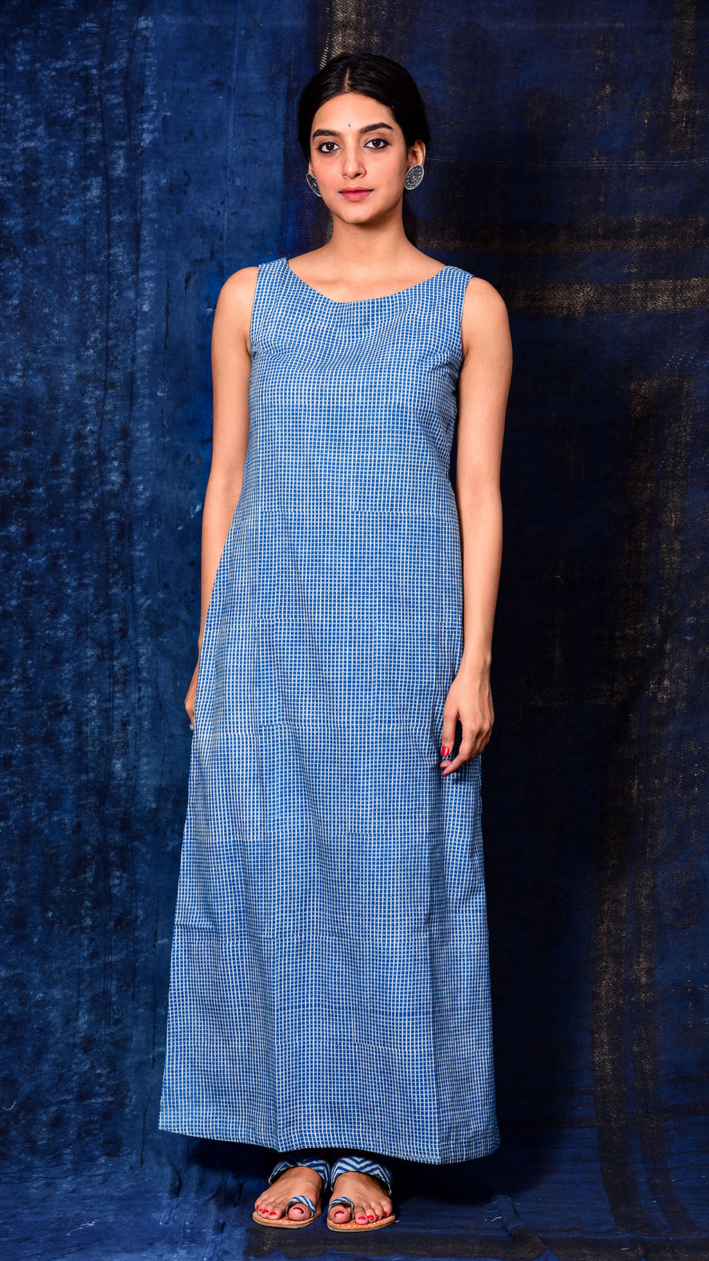 Indigo Dyed Dabu Print A-line long dress - Aavaran Udaipur