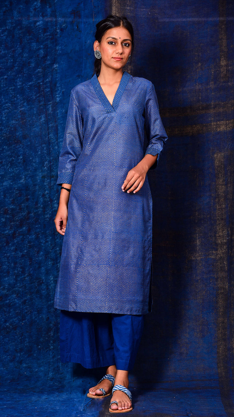Indigo dyed Gold printed Straight Kurta