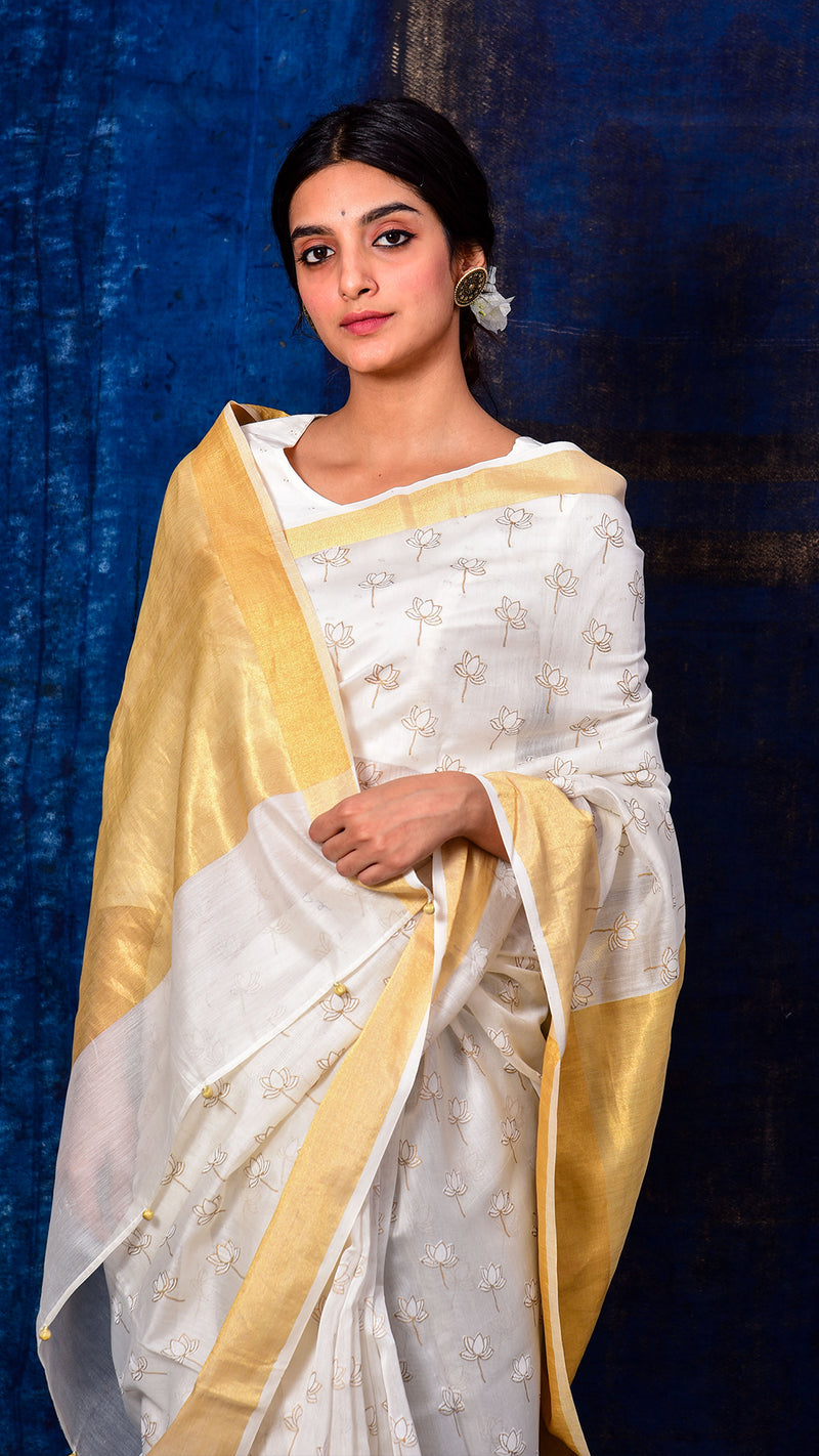 White and gold silk hand block printed lotus saree