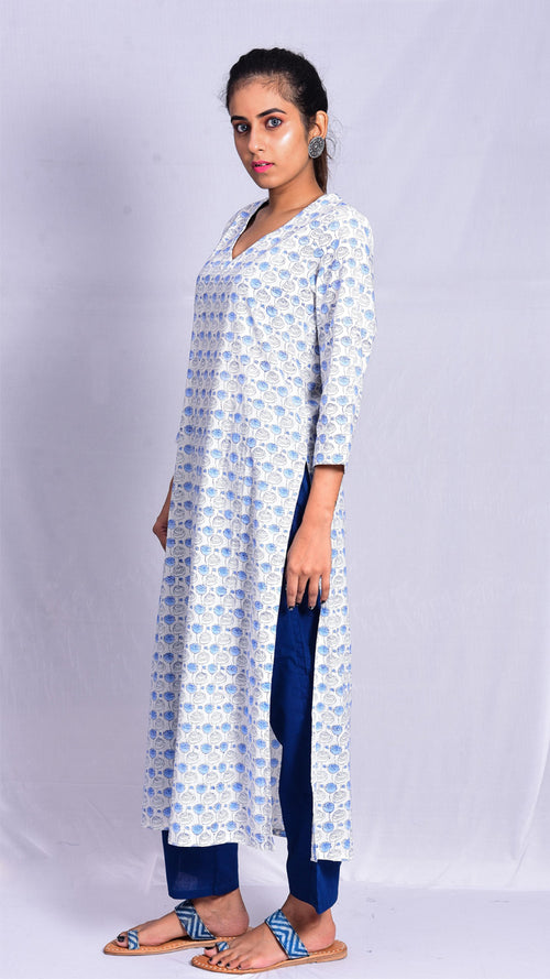 White straight v-neck kurta