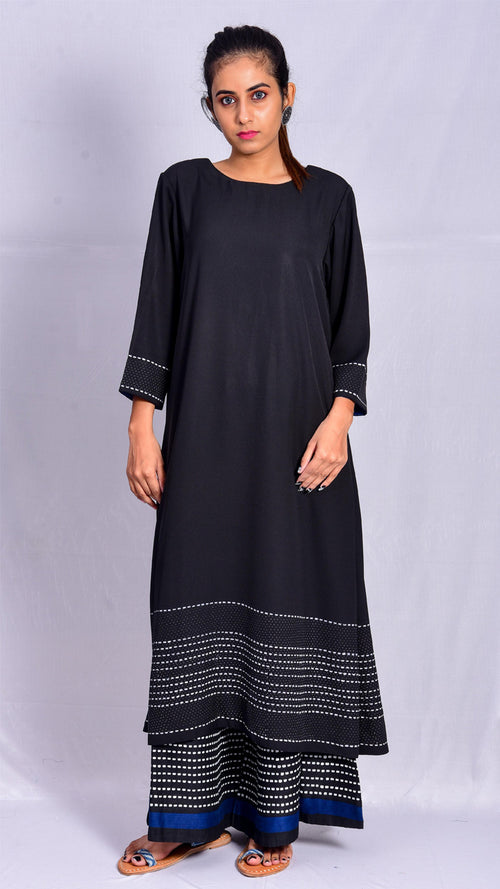 Black dyed and white khadi printed kurta - Aavaran Udaipur