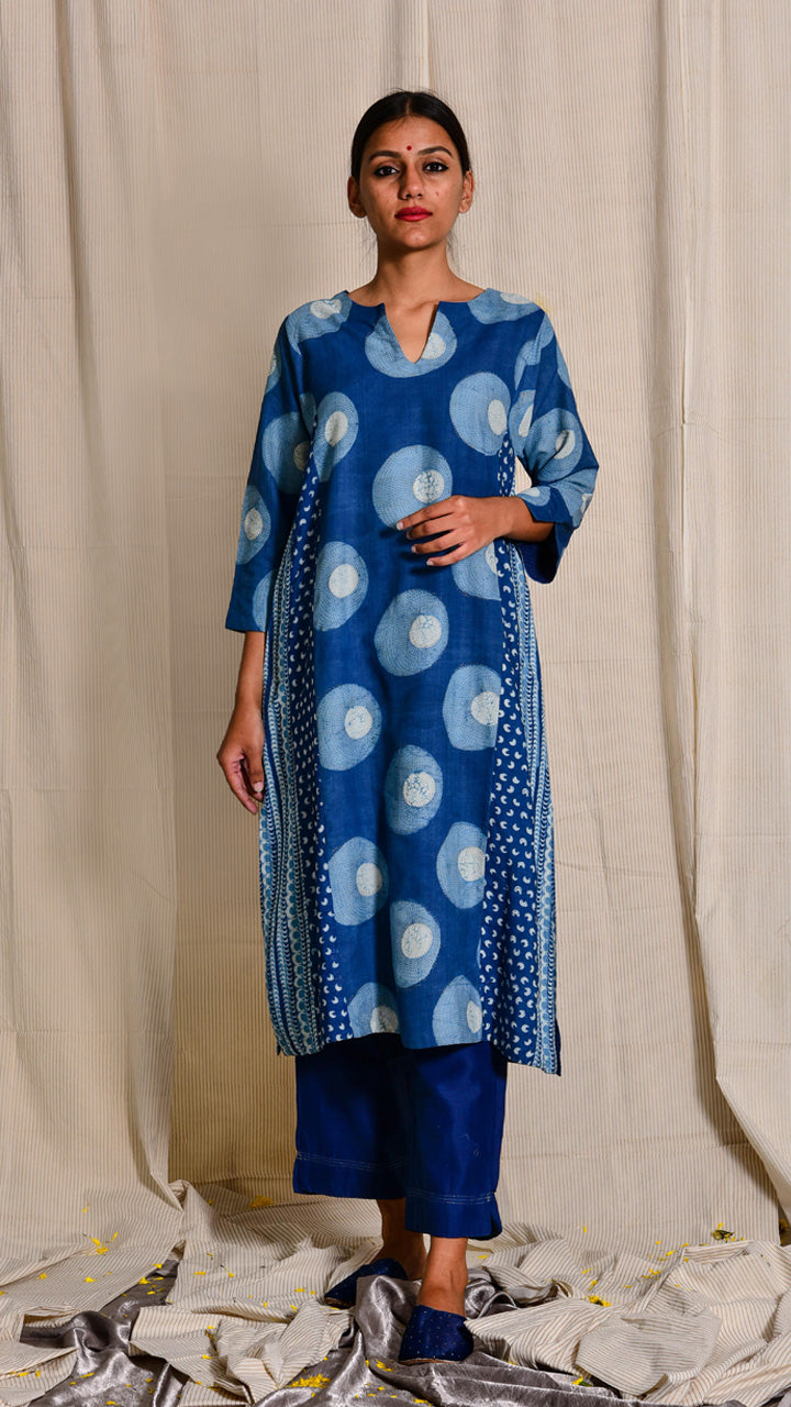Indigo dyed and hand block printed tussar cotton kurta - Aavaran Udaipur