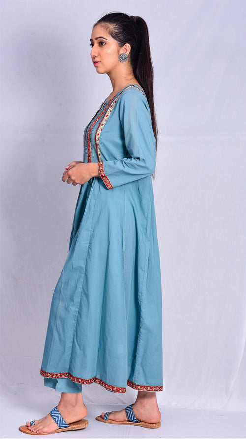 Light blue front and back gathered  block printed kurta