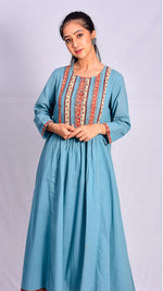 Light blue front and back gathered block printed kurta - Aavaran Udaipur