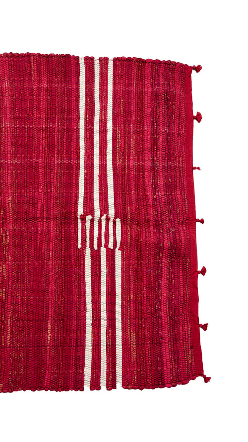 Red Rug from textile leftovers - Aavaran Udaipur