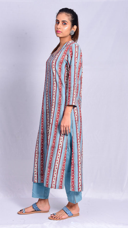 Hand block printed straight V-neck kurta