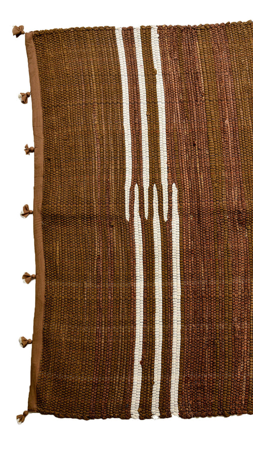 Brown Rug from textile leftovers - Aavaran Udaipur