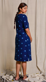 Indigo dyed and hand block printed cotton flex dress - Aavaran Udaipur