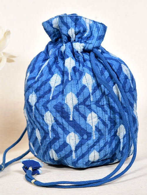 Indigo dyed and dabu printed potli