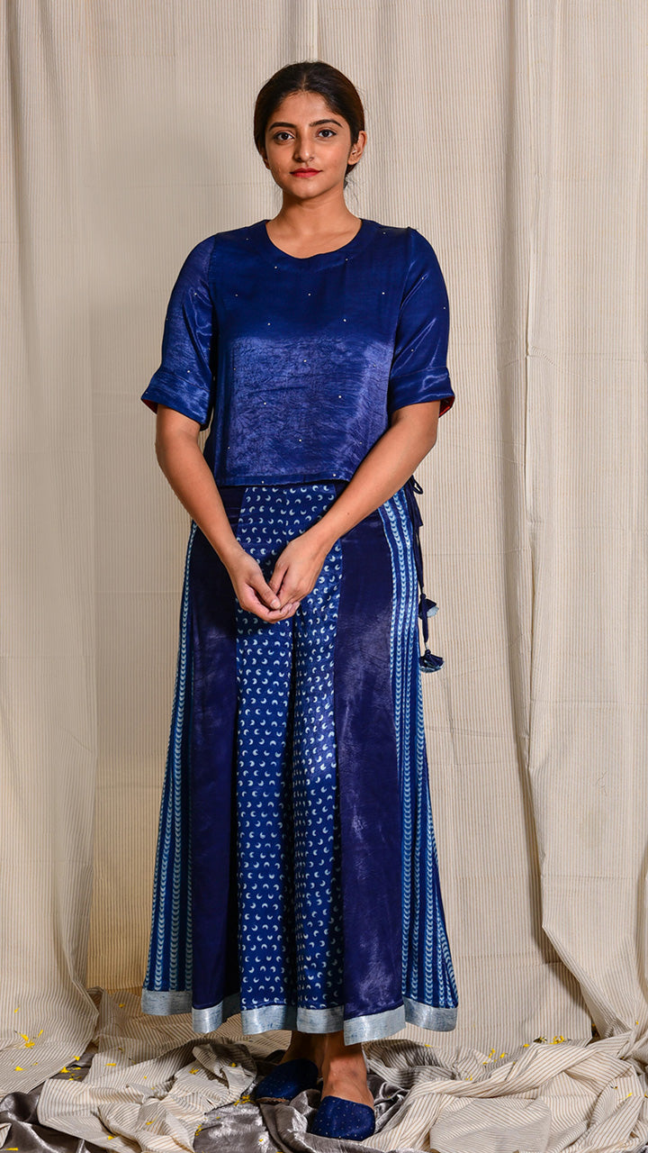 Indigo dyed and hand embroidered mashru sharara - Aavaran Udaipur
