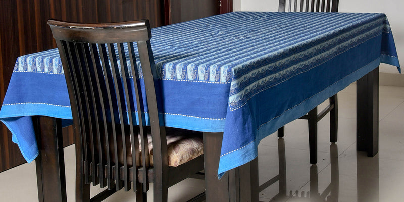 Indigo Dyed and dabu printed table cover - Aavaran Udaipur