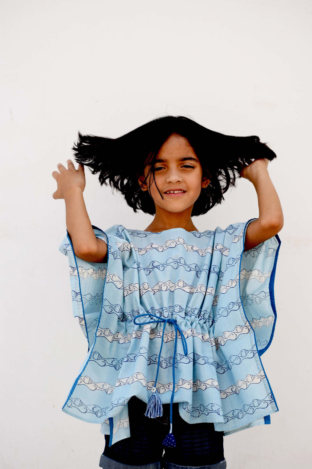 Indigo dyed kaftan with Fish print and Drawstrings - Aavaran Udaipur