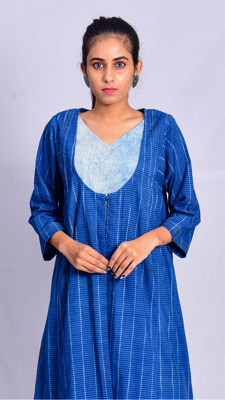 Indigo dyed overlay and indigo dyed v-neck inner(Set of 2) - Aavaran Udaipur