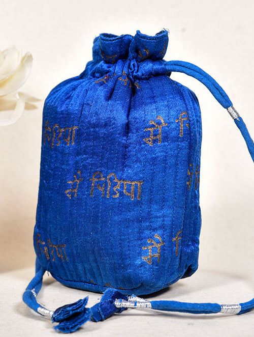 Indigo dyed potli with gold printed