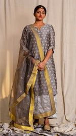 Kashish dyed and hand block printed and zari embroidered chanderi silk kurta - Aavaran Udaipur
