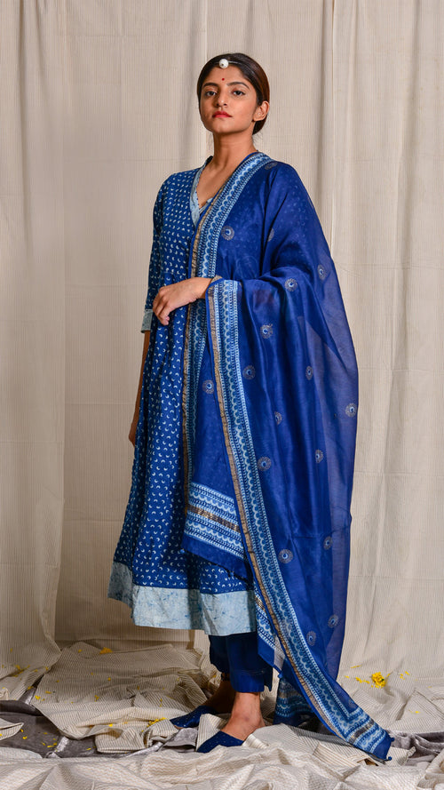 Indigo dyed and dabu hand block printed cotton Angrakha - Aavaran Udaipur