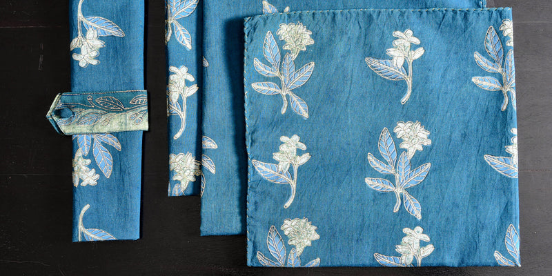 Indigo dyed and dabu printed napkins(Set of 4) - Aavaran Udaipur