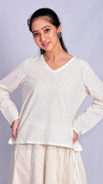 White cotton V-neck top - Aavaran Udaipur