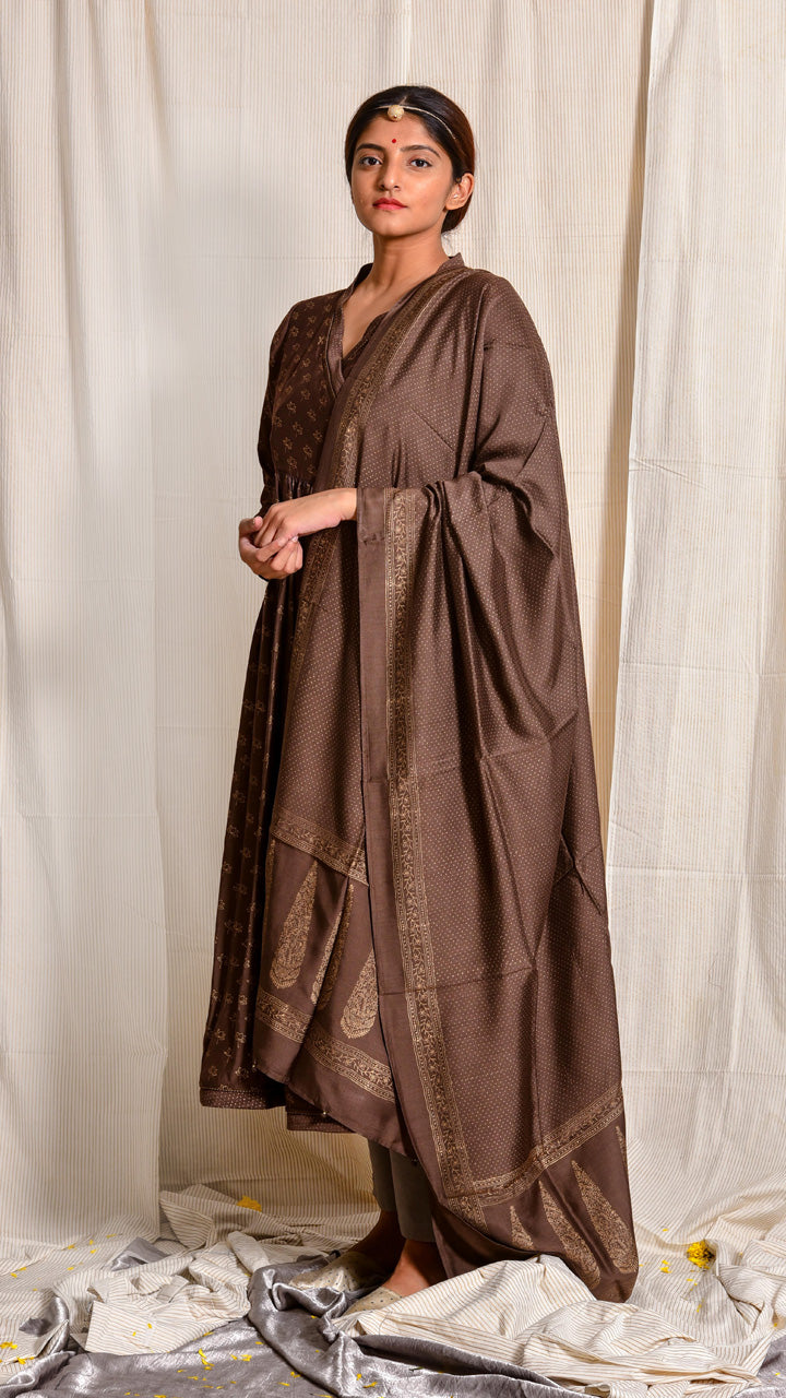 Brown cotton silk Angrakha with gold print - Aavaran Udaipur