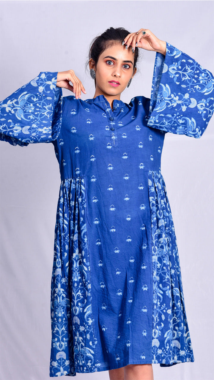 Indigo dyed dress with floral Dabu hand block printed. - Aavaran Udaipur