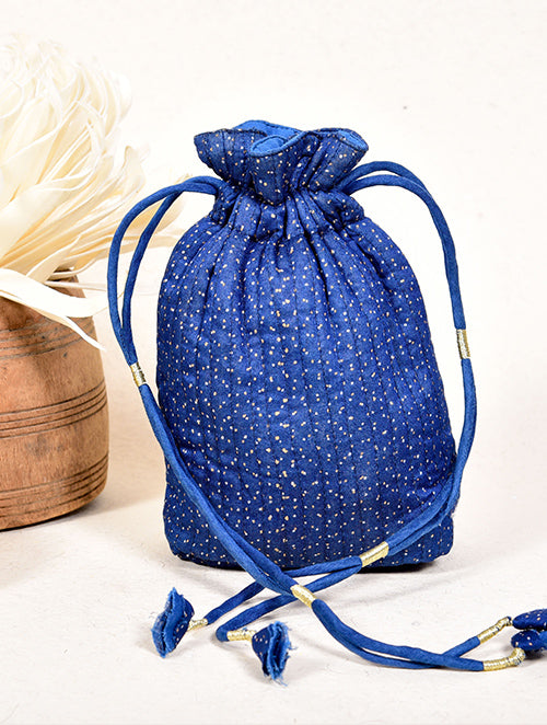 Indigo dyed potli with Gold printed dots - Aavaran Udaipur