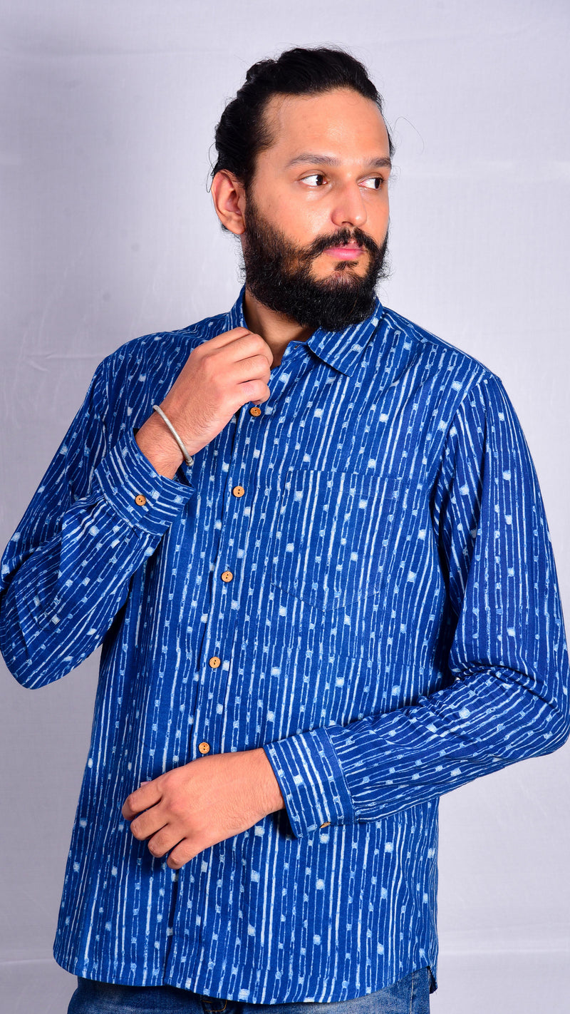 Indigo Dyed Full Sleeves Shirt - Aavaran Udaipur