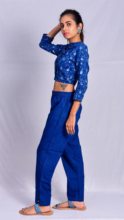 Indigo Dyed Straight Pants