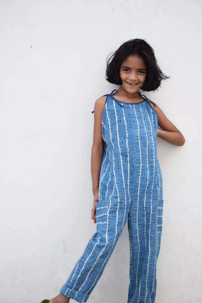 Indigo dyed Dabu and Pigment printed Jumpsuit