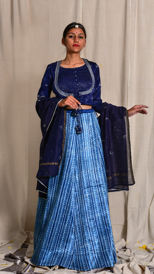 Indigo dyed and dabu hand block printed mashru skirt - Aavaran Udaipur