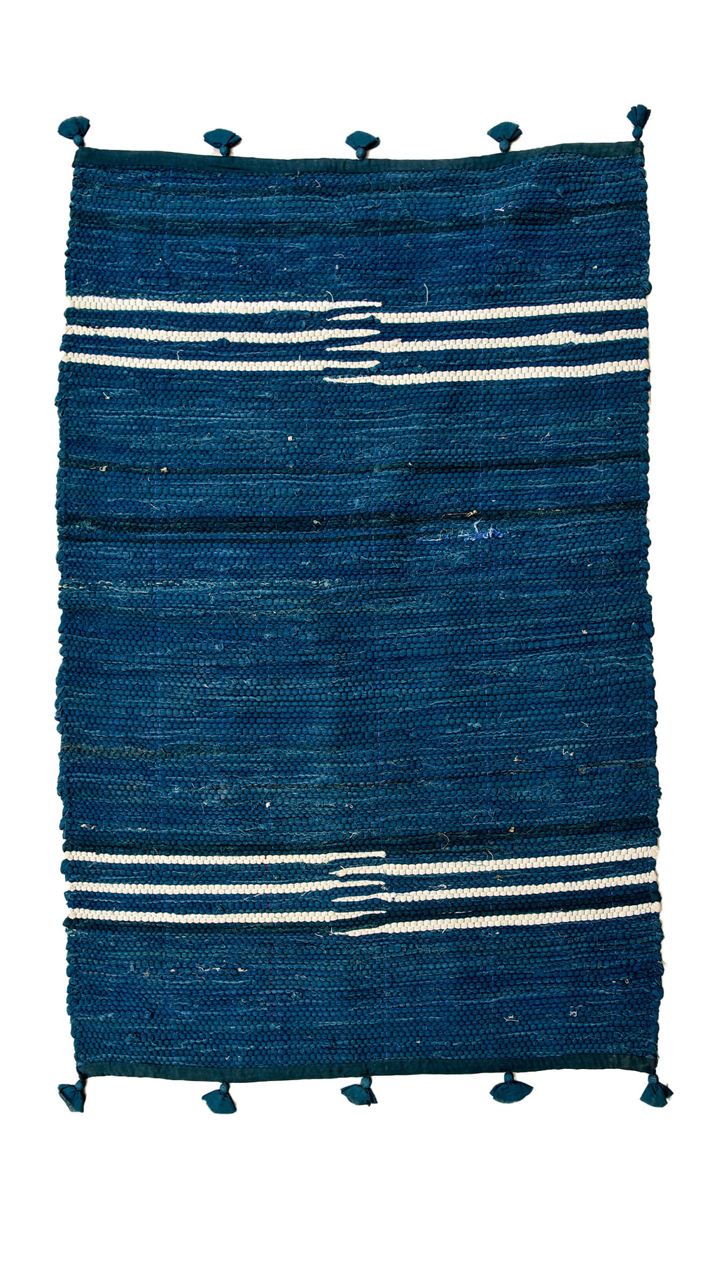 Indigo Nashpal Rug from fabric leftovers - Aavaran Udaipur