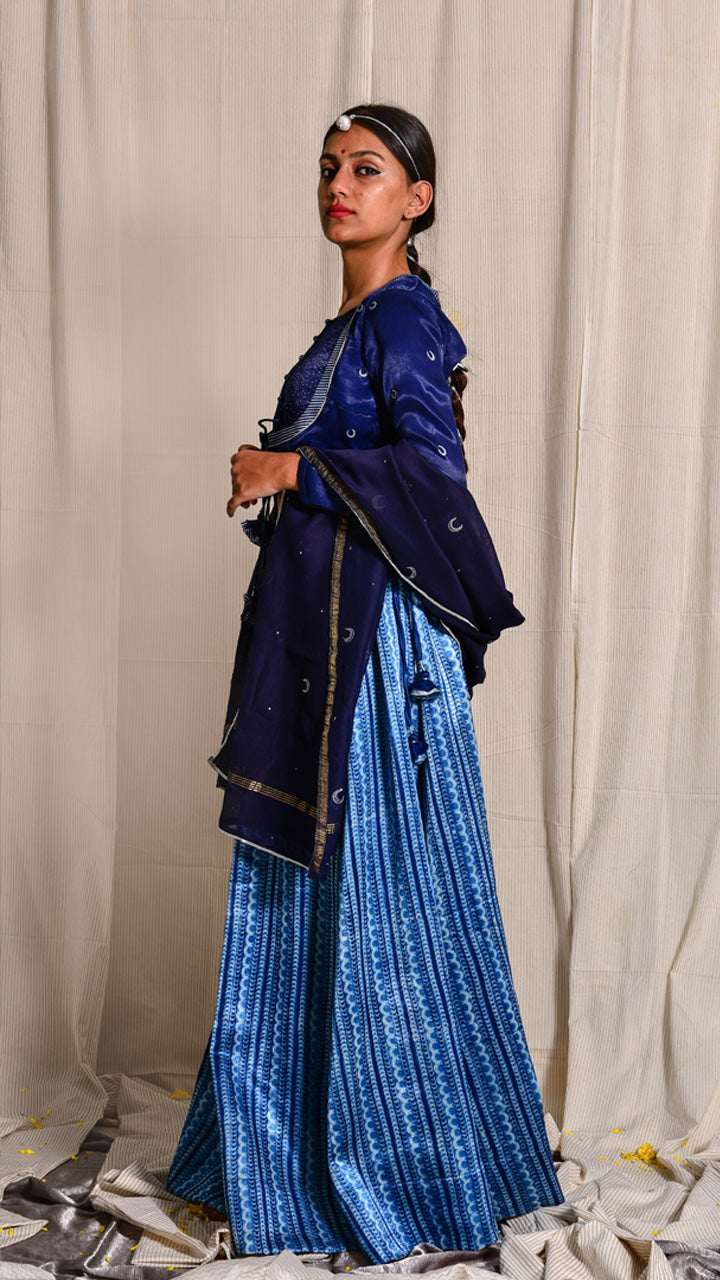 Indigo dyed and silver block printed mashru choli - Aavaran Udaipur